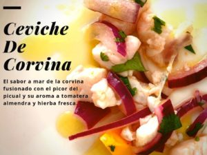 Sea bass and mango ceviche with extra virgin oil from Jaén 2019